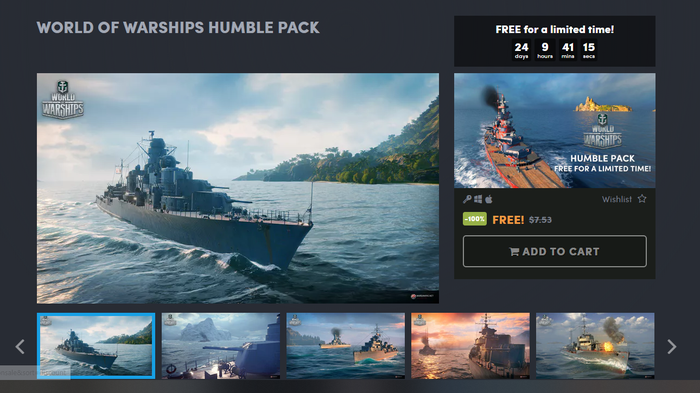 WORLD OF WARSHIPS HUMBLE PACKFREE for a limited time! Free, Не Steam, World of Warships, Humble Bundle