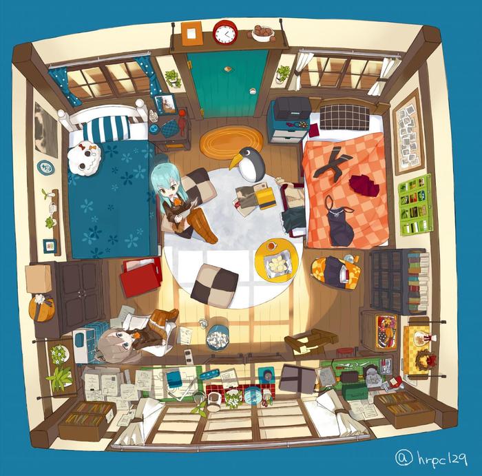 Комната Сузуи и Кумано Аниме, Anime Art, Kantai Collection, Kumano, Suzuya
