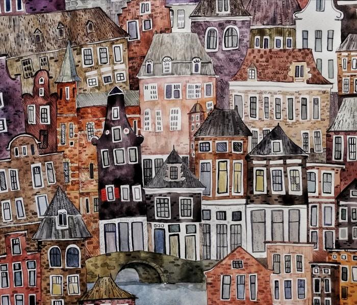 1000 и 1 окно Для дома, Акварель, Архитектура, Город, Рисунок, Дом, Здание, Окно