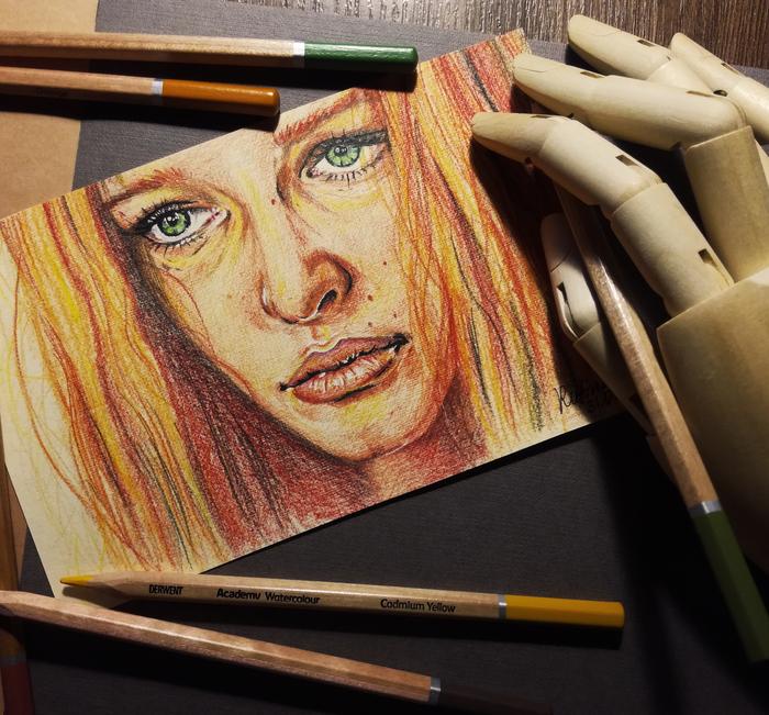 5 элемент Арт, Портрет, Рисунок, Акварельные карандаши, Фильмы, Пятый Элемент, Мила Йовович, Актриса