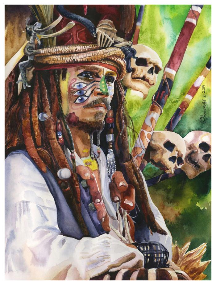 Капитан Джек Воробей Акварель, Капитан Джек Воробей, Живопись, Рисунок, Портрет, Фильмы, Пираты карибского моря, Джонни Депп