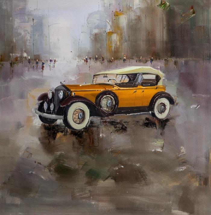 """Картина маслом """"Ретро-автомобиль на фоне города"""" Машина, Авто, Ретроавтомобиль, Картина, Искусство, Живопись, Городской"""