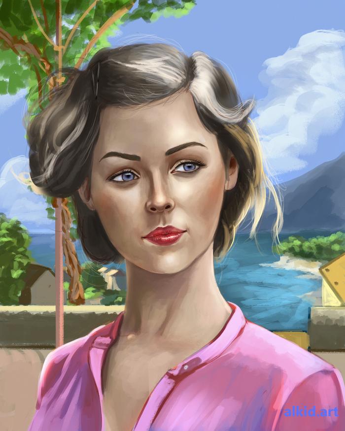 Портрет милой девушки Портрет, Digital, Цифровой рисунок