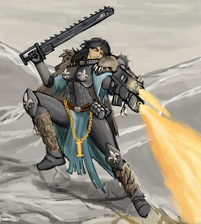 Сестры Битвы Заказ, Wh Art, Warhammer 40k, Warhammer, Adepta Sororitas, Болтер, Flamethrower, Длиннопост