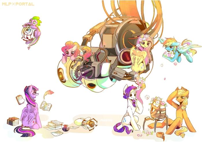 Пони и порталы My Little Pony, Portal, Crossover, Portal 2, Арт, Blue Sky, Mane 6