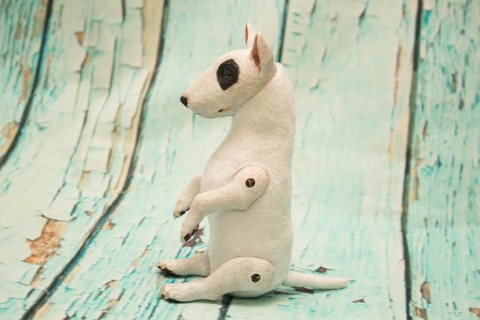 Бультерьер Полимерная глина, Авторская игрушка, Бультерьер, Собака, Рукоделие без процесса, Длиннопост