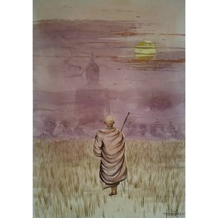 Солнце. Будда. Монах (2019) Акварель 60х42см