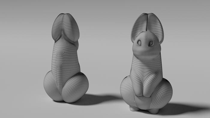 Решил сделать модельку зайца, но вышло как то х...во Blender, Заяц, Член, 3D