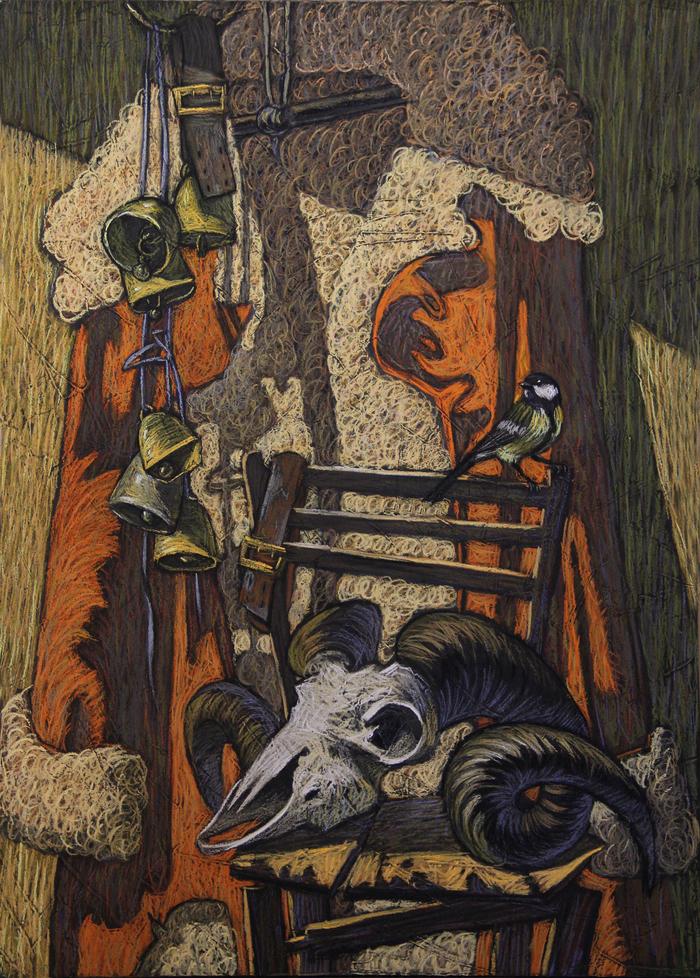Натюрморты с черепами. Сухая пастель, Натюрморт, Череп, Птицы, Ботало, Длиннопост, Пастель, Картина