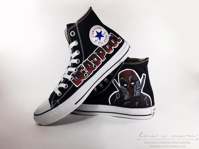 """Роспись кед """"Deadpool"""". Роспись обуви, Deadpool, Роспись по ткани, Converse, Рукоделие без процесса, Акрил, Длиннопост"""