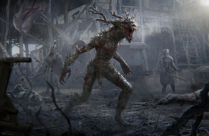 Охота Арт, Рисунок, Существо, Зверь, Рыцарь