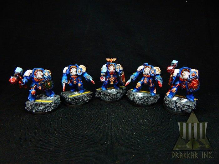 Штурмовые терминаторы Warhammer 40k, Wh miniatures, Wh painting, Миниатюра, Покраска миниатюр, Ultramarines, Длиннопост