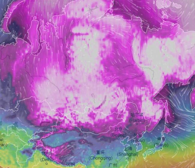 Сибирь своим холодом нарисовала член на карте погоды
