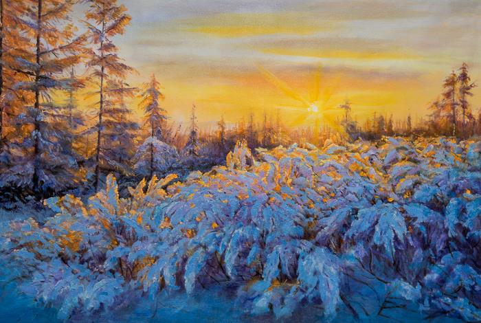 "Картина маслом ""Cнег, солнце, иней и мороз."" Искусство, Зима, Мороз, Живопись, Картина, Природа, Пейзаж"