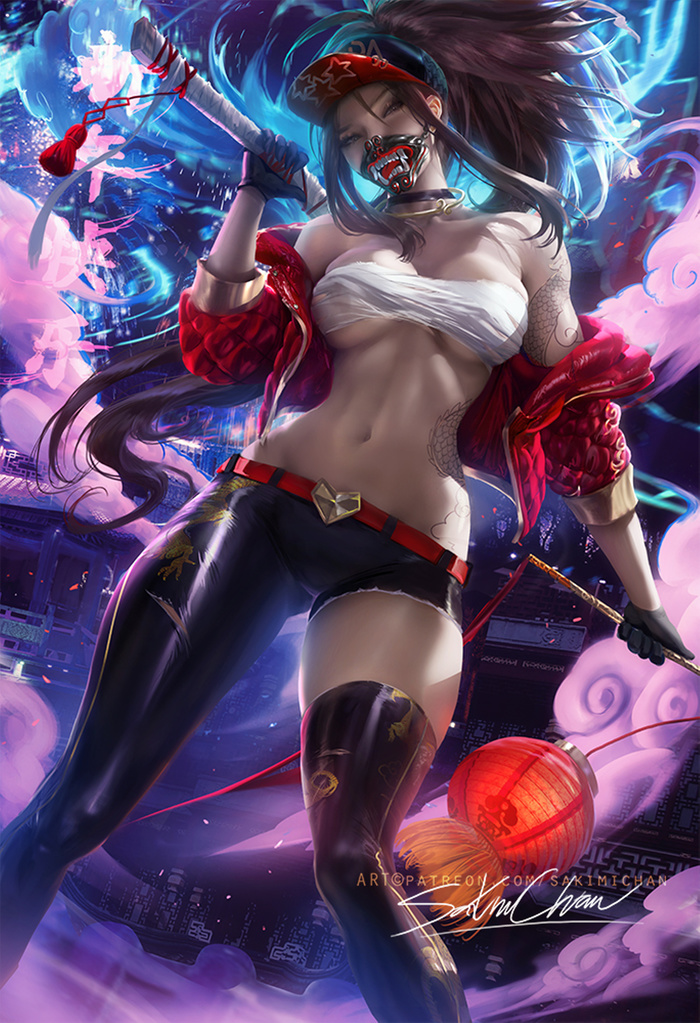 Lunar KDA Akali Art Арт, Sakimichan, League of Legends, Akali, KDA, Китайский новый год, Девушки