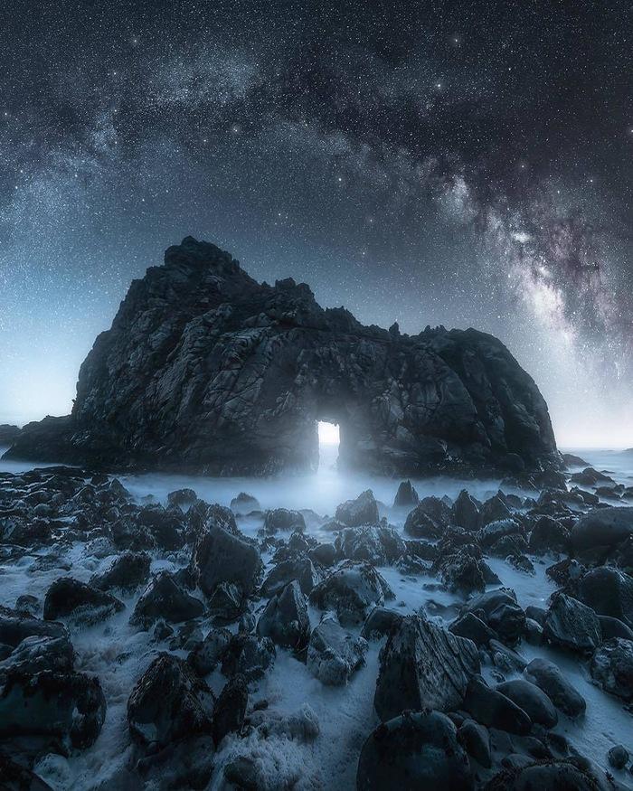 Портал Фотография, Красивый вид, Природа, Скалы, Туман, Ночь, Звездное небо, Rudy Serrano