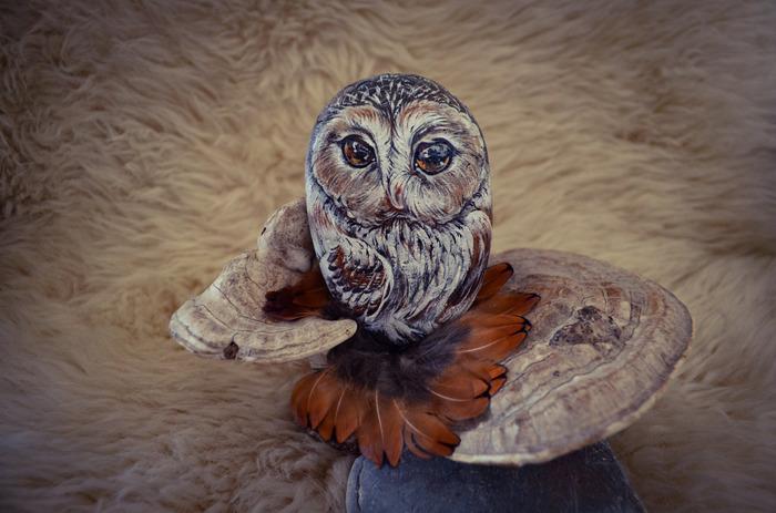 Мои каменные совы #5 Роспись по камню, Сова, Птицы, Декоративное искусство, Акрил, Длиннопост, Роспись