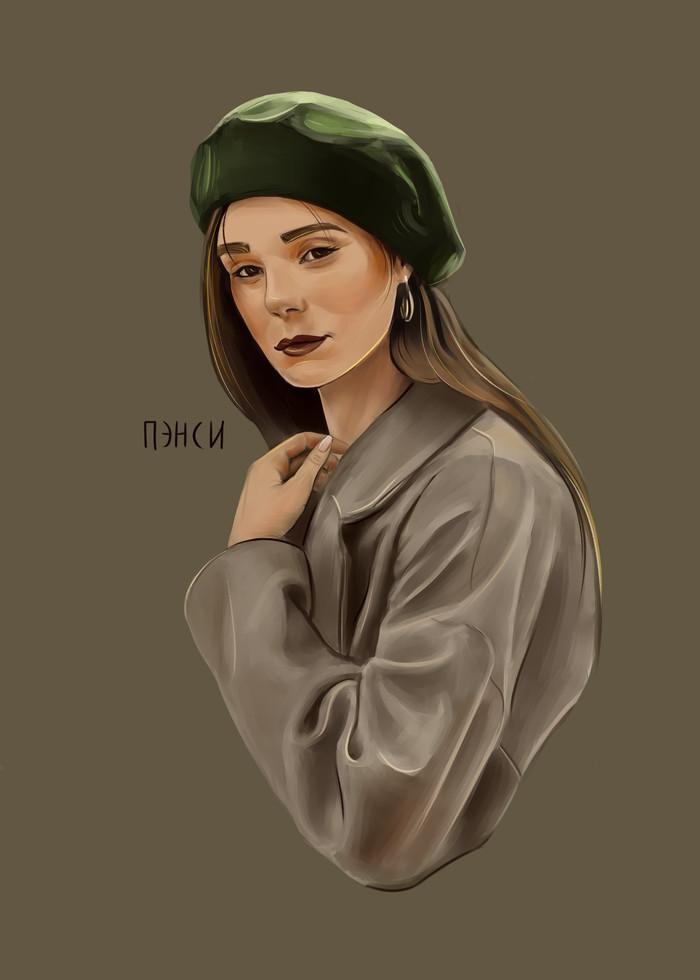 Портрет рандомной девушки Арт, Цифровой рисунок, Рисунок, Портрет, Красивая девушка, Пэнси, Девушки