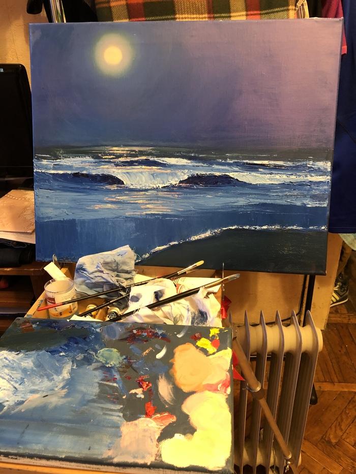 Попытки писать маслом Художественная мазня, Море, Ночь, Луна, Картина маслом, Картина, Рисунок