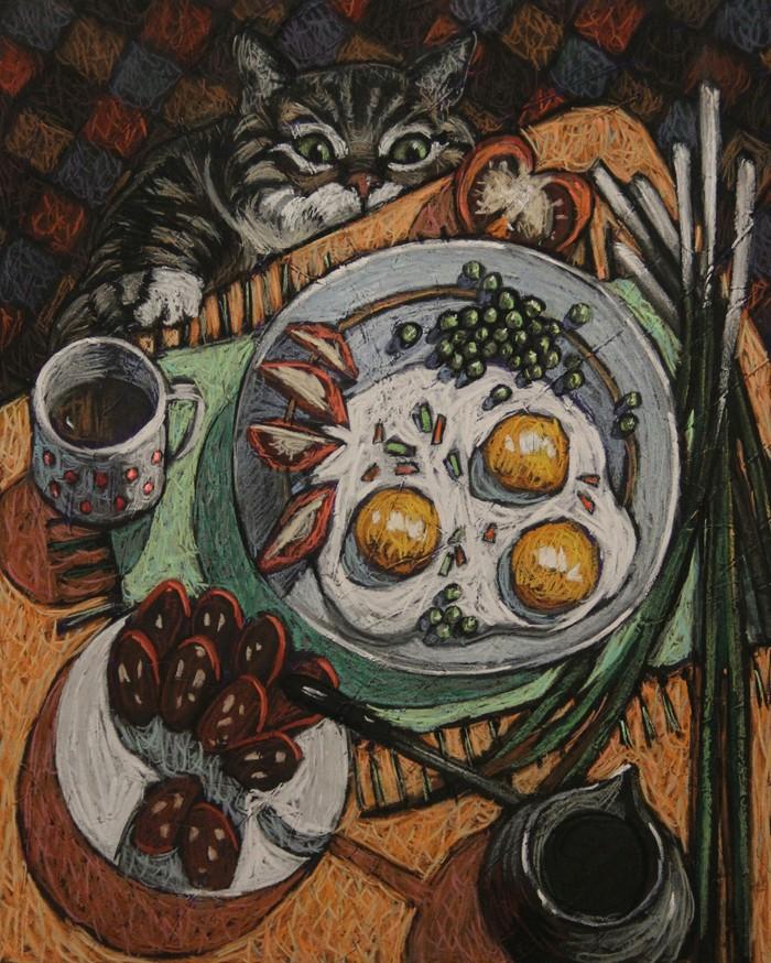Завтрак Пастель, Сухая пастель, Кот, Еда, Животные, Натюрморт, Рисунок