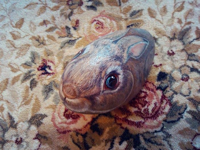 Эксперимент. Кролик на камне Роспись по камню, Кролик, Акрил, Длиннопост, Роспись, Животные