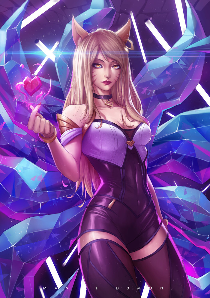 """Ahri"", ""Evelynn"", ""Akali"" by Manish D3mon Manish D3mon, Арт, Lol, League of Legends, Ahri, Evelynn, Akali, Длиннопост"