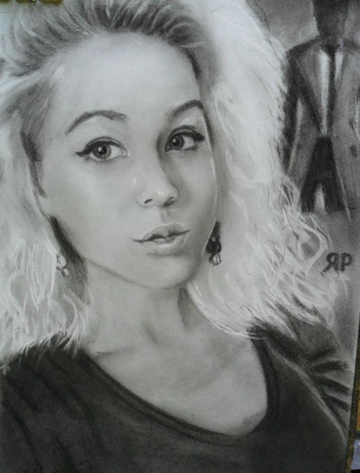 Портрет угольным карандашом и угольной пылью. Портрет, Девушки, Портрет по фото, Рисунок, Рисунок углем