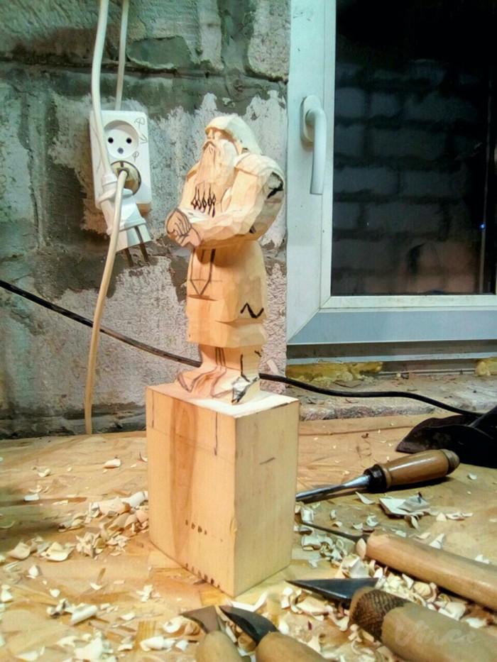 Мое сумасшествие на фоне фентези продолжается. Только теперь процесс задокументирован) Дворфы, Гномы, Резьба по дереву, Своими руками, Работа с деревом, Скульптура, Длиннопост