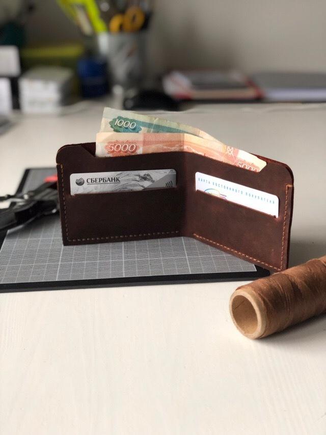 e29d05dd3250 Минималистичный кожаный кошелек. Изделие #1 Кожаный кошелек, Изделия из Crazy  Horse, Ручная
