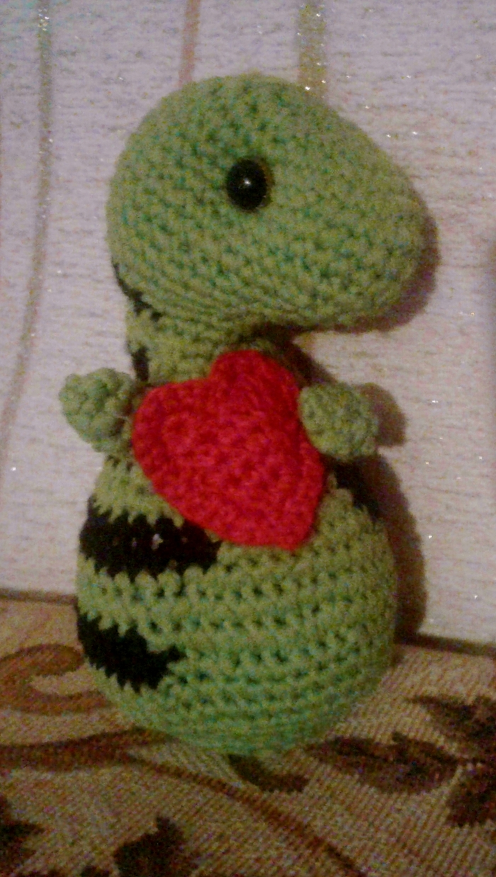 Такой сердечный динозаврик Вязание крючком, Животные, Сердце, Длиннопост