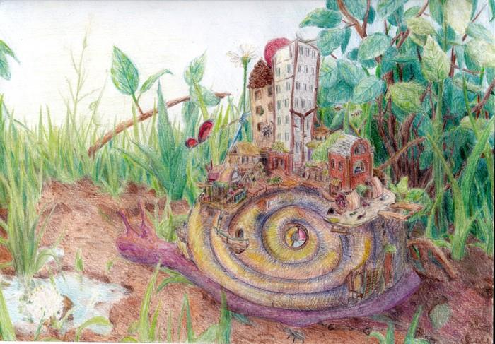 Улитка-город - рисунок цветными карандашами. Рисунок, Цветные карандаши, Сказка, Улитка, Город