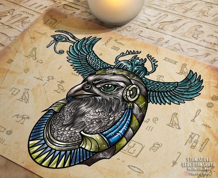 Египетская сила [1] Тату, Картинки, Творчество, Египет, Рисунок, Арт, Птицы, Иллюстратор