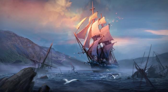 Восход Арт, Рисунок, Восход, Корабль