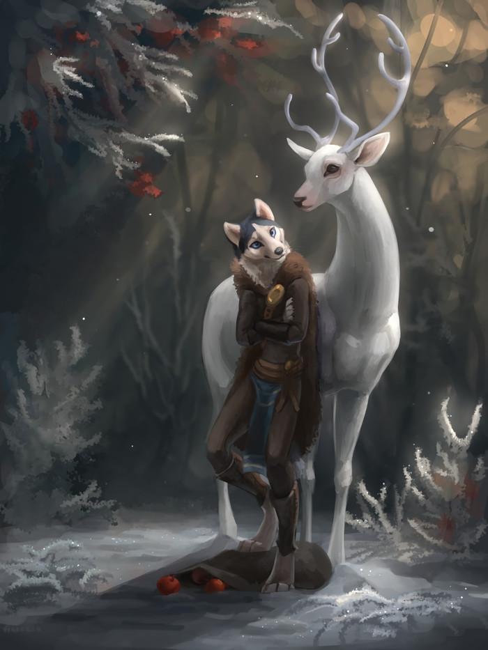 Domestication of deer Фурри, Furry Art, Антро, Furry Canine, Олень, Akineza