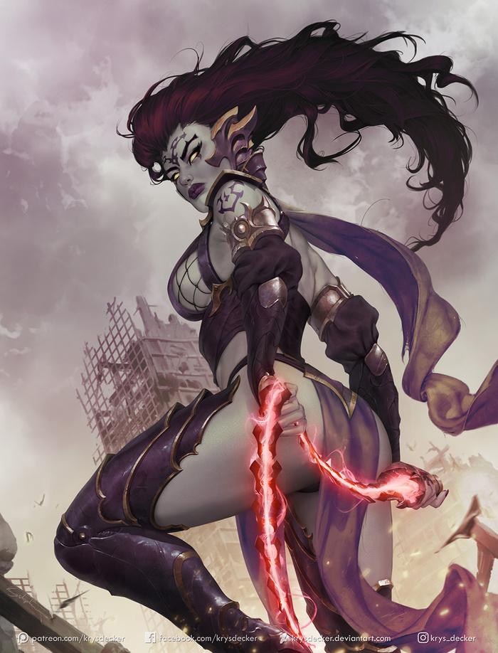 Fury Art Арт, Krysdecker, Darksiders, Darksiders 3, Fury, Ярость, Девушки, Игры