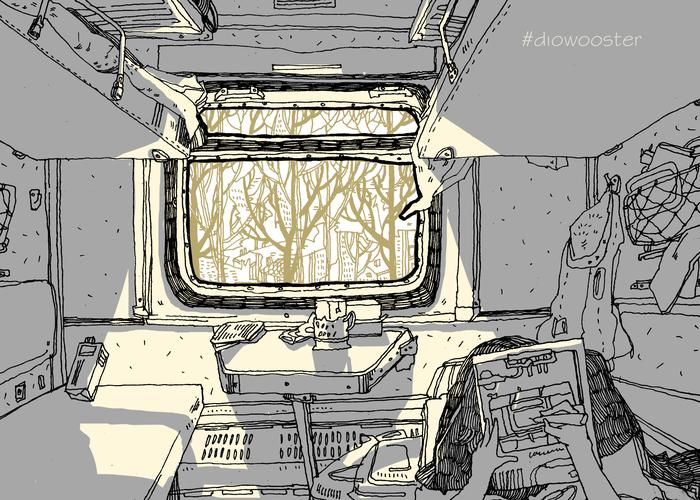 В поезде Diowooster, Поезд, Скетч, Длиннопост, Рисунок, Цифровой рисунок, Интерьер