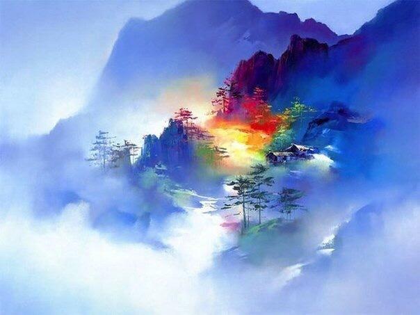 Радужные пейзажи Арт, Картинки, Художник, Искусство, Пейзаж, Радуга, Красивый вид, Ken Hong Leung, Длиннопост