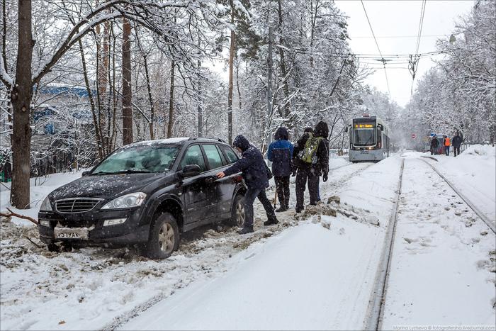 Олень дня Трамвай, Авто, Нарушение ПДД, Длиннопост, Москва, Снег, Снегопад, Затор