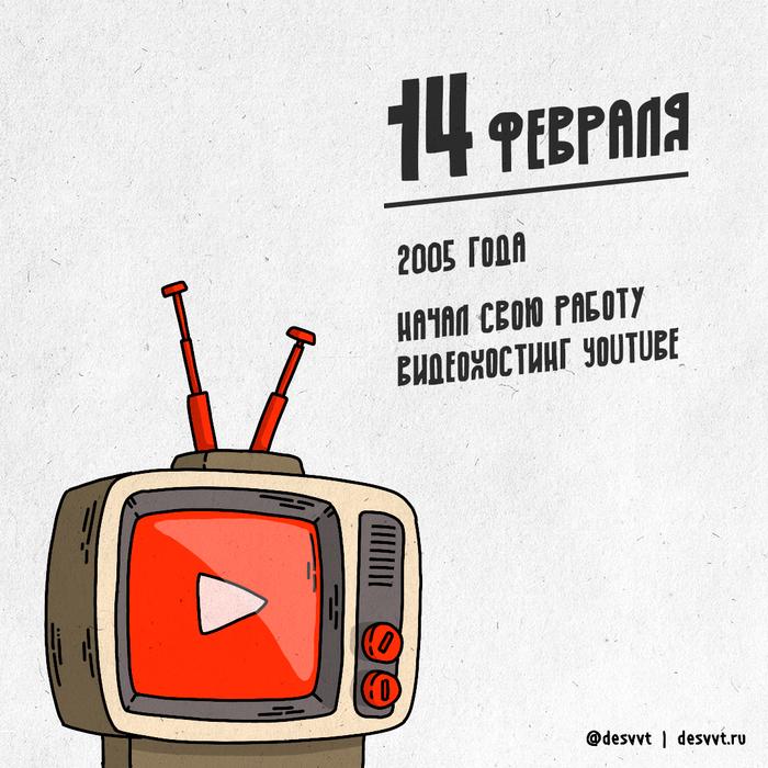 (076/366) 14 февраля запущен видеохостинг YouTube Проекткалендарь2, Рисунок, Иллюстрации, Видеохостинг, Youtube, Запуск