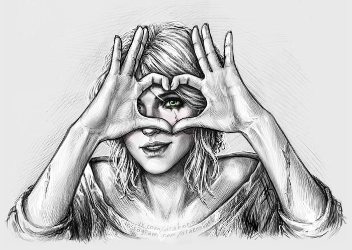 Немножко любви вам <3 Цири, День святого Валентина, Ведьмак, Любовь, Арт, Скетч, The Witcher 3:Wild Hunt, С праздником