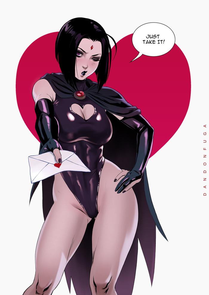 Raven ~ Valentine's Day Art Арт, Dandonfuga, DC, DC Comics, Ворон, Девушки, Супергерои, День святого Валентина