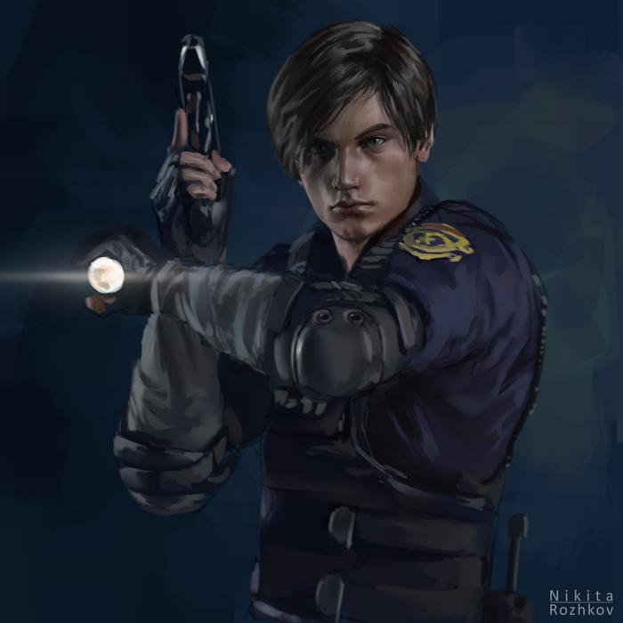 Resident Evil 2 Remake - Leon Леон, Зомби, Resident Evil, Resident Evil 2: Remake, Resident Evil 2, Игры, Рисунок, Цифровой рисунок