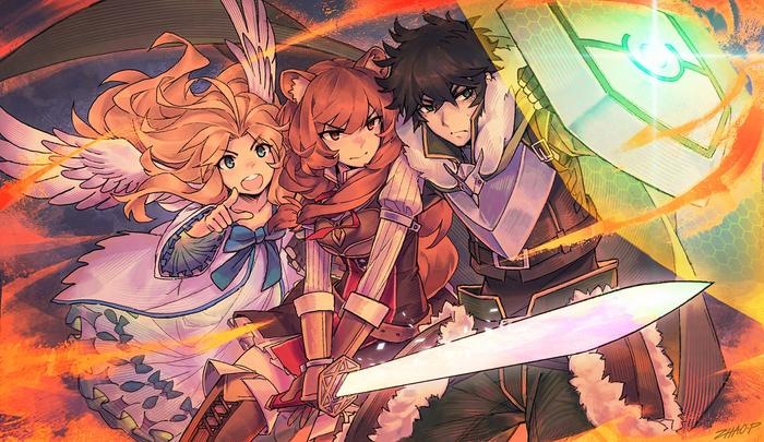 Команда героя Аниме, Anime Art, Tate No yuusha No nariagari, Naofumi, Filo, Raphtalia, Speed painting, Видео