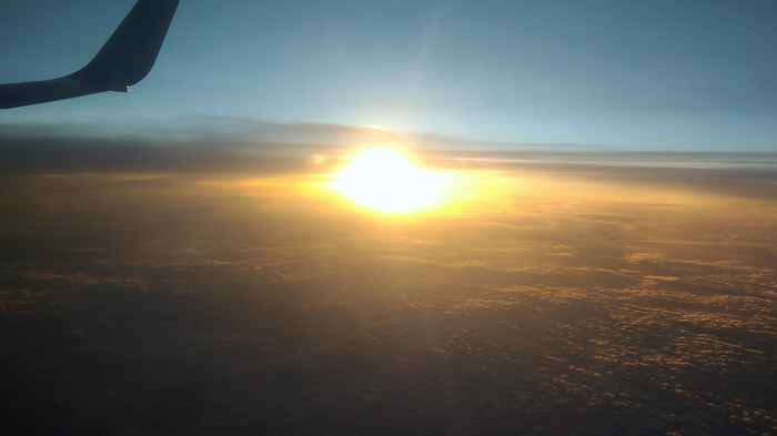 Закат из самолёта Закат, Солнце, Фотография, Длиннопост