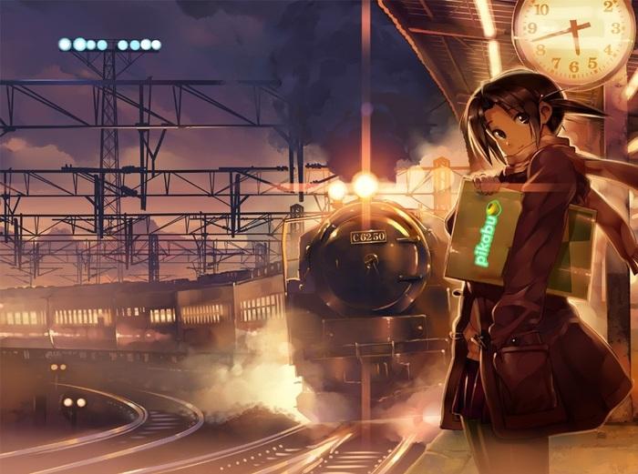 Красивая девушка в ожидании приближающегося поезда Anime Art, Поезд, Девочка, Железная Дорога, Аниме, Арт, Япония, Vania600