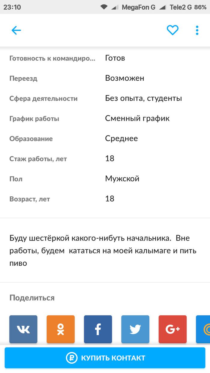 Резюме Шестерки Резюме, Юмор, Длиннопост