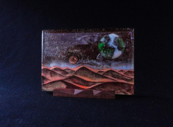 Миниатюра Desert (#1) Космос, Пустыня, Светящаяся миниатюра, Люминофор, Дерево, Эпоксидная смола, Длиннопост