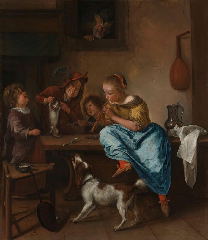 Дети учат кошку танцевать Лига историков, Урок танца, Картина, Живопись, Голландия, Ян Стен, 17 век, Кот