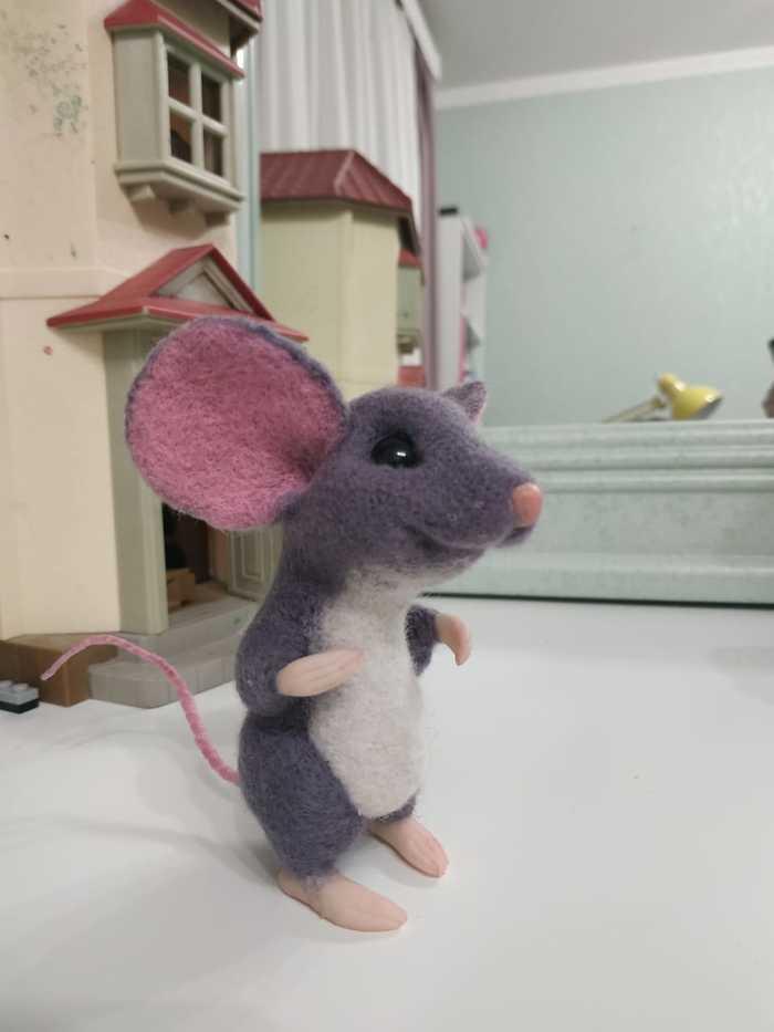Мультяшный мышь Рукоделие без процесса, Сухое валяние, Длиннопост, Мышь