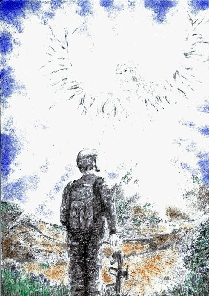 """Рисунок """"Ко мне явился ангел"""". Рисунок, Сокровища валькирии, Солдаты, Ангел, Пастель, Рисунок карандашом, Смешанная техника, Иллюстрации"""